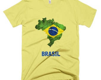 "The Brazil ""Brasil"" Flag T-Shirt (mens fitted)"
