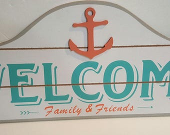 WELCOME Family & Friends Sign - Nautical - Teal and Coral