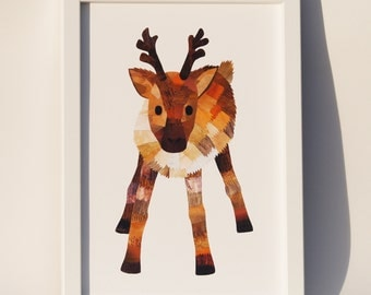 Christmas reindeer print, Woodland nursery decor, Cute wildlife art,  Paper collage art, Deer art, Cute animal wall art, Nursery deer print