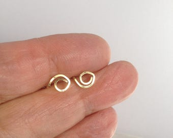 Dainty 14K Gold Stud Earrings Geometric Shapes Minimalist Geek Chic Simple Everyday Earrings Geek Mom Recycled Upcycled Eco-friendly Unique