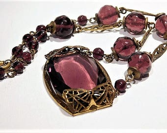 Art Deco Czech Amethyst Glass Necklace Choker 1930s 30s Czechoslovakia Bohemian Fashion Jewelry  Brass Filigree Spring Summer Wedding Mom