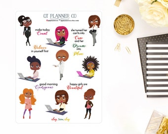 Sisters Slay at Work Planner Stickers-Decorative, Functional, Quotes, for your Erin Condren Life Planner, African American, Dark Skin Women