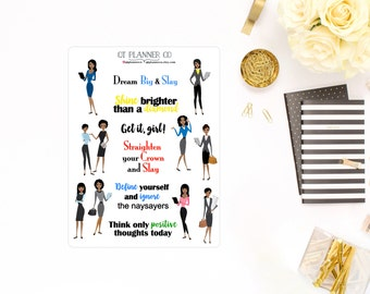 Sisters Slay and Inspire Deco and Quote planner stickers - African American, Dark Skin Women