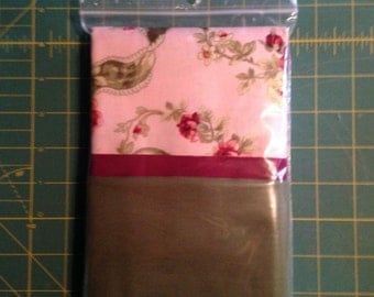 Olive Green, Mauve and Pink Floral Pillowcase Kit, 100% Cotton