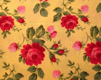 Red Flowers on Bright Yellow Background, Rosie Two Step, Holly Holderman for Lakehouse Prints, 100% Cotton