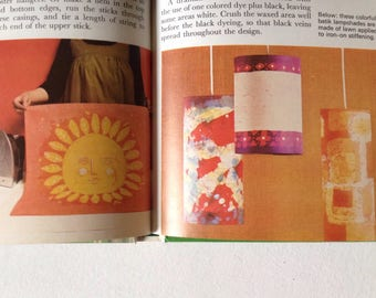 1970's craft book Crafts for Fun and Profit with decoupage, mosaic, bead necklaces, rug making, tie dye, batik, flower pressing, macrame