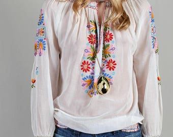 Vintage 1920s Hand Embroidered Peasant Blouse, Hungarian 20s 30s Boho Blouse guaze Women's Bouses, Top