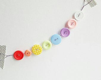 mini pastel rainbow button bunting