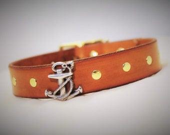 Anchor Dog Collar, Nautical Anchor Collar, Handmade Anchor Collar, Brass Buckle Nautical Collar, Anchor Dog Collar Leather, Sailor Collar
