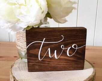 Rustic wood table numbers // rustic wedding // rustic wedding decor // wedding signs // wood signs // table numbers // table numbers wedding
