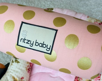 Pink and Gold Dot Arm Pad, Arm Cushions for Car Seat Handle, Cushioned Arm Pads, Minky Reverse, Reversible Arm Pads Carseat