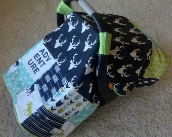 Unique Baby Boy Canopy Blankets, Navy Deer Canopy Blankets, Moose Baby Blankets for Carseat, Lime Car Seat Cover