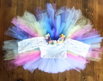UNICORN tutu, high low tutu, tutu, unicorn birthday, pastel tutu, girls tutu, toddler tutu, birthday tutu, baby tutu, full tutu, long tutu