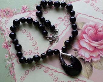 Sterling Black Onyx Bead and Pendant Necklace