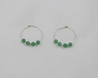 Green Jade Sterling Hoop Earring - Clearance