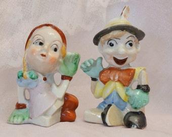 Pinocchio/Pinnochio Shakers/Pinocchio Salt Shakers/Pinocchio and Maid Shakers/Grimm's Fairy Tales/Japan/Rare Shakers/Vintage Pinocchio/Rare