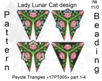 Roses patterns, Bouquet patterns, Triangle Peyote pattern, Spring pattern, Flowers patterns, Peyote stitch, Beading patterns