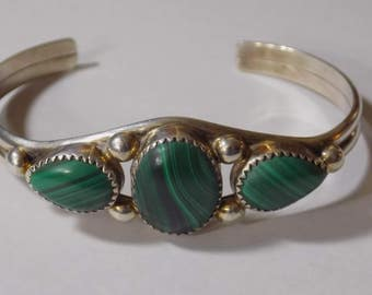 Stunning sterling silver and malicite bracelet.