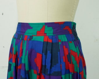 Vintage 1990s Tetris Skirt with Bright Red, Green, Blue and Purple details with pockets, Womens size 10 size M size L