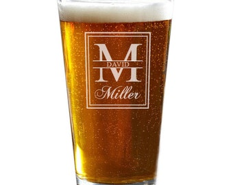 Personalized Pint Glass, Engraved Beer Glass, Husband Gift, Custom Beer Glass, Beer Gifts