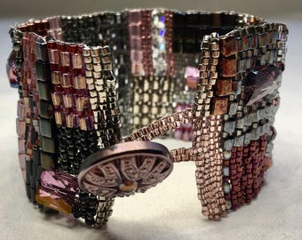 Wide Hand Woven Beaded Bracelet