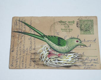 A lovely old Rajasthan miniature  painting Indian postcard of a bird & the nest ,art ,vintage