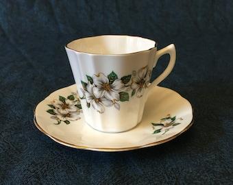 Vintage Enco National Fine Bone China Dogwood Blossoms Tea Cup and Saucer