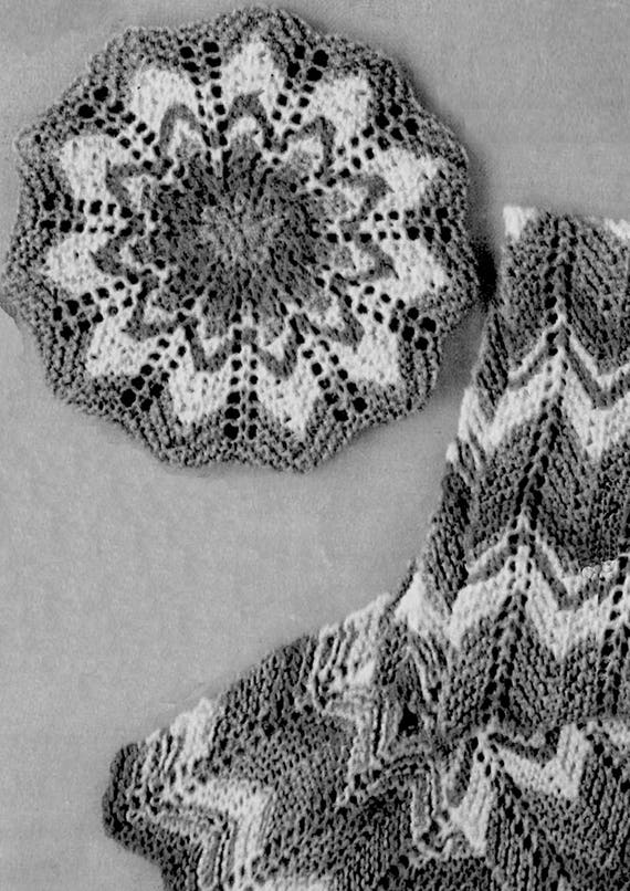Oversized Beret Knitting Pattern : PDF Vintage 1970s Womens Girls Chevron Beret Hat & Scarf Knitting Pattern...
