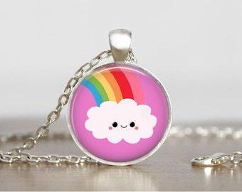 Kawaii Rainbow Necklace Kawaii Necklace Kawaii Jewelry Silver Kawaii Pendant