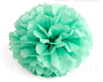Light Turquoise Tissue Paper Pom Poms - Wedding Party Decorations - Baby shower Decorations