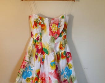 Multi-Colored Floral Strapless Party Dress