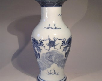Chinese Vintage Porcelain, Chinese Porcelain Vase, Blue And White Vase, Dragons And Pearl, Traditional Illustrated Vase.