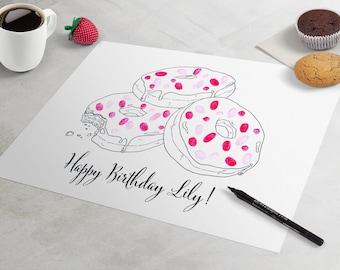 Donut Birthday Guest Book: fingerprint guest book for birthday party like fingerprint tree. thumbprint tree, guest book alternative