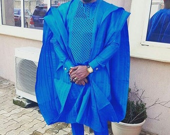 3 Pcs Blue African Mens Agbada/Ankara Men's Agbada Traditional Outfit