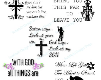 Christian svg quotes /Digital Cutting File, Eps, png and Jpg / motivation svg quote / cross silhouette / god quote  / 05 set / svg cut file