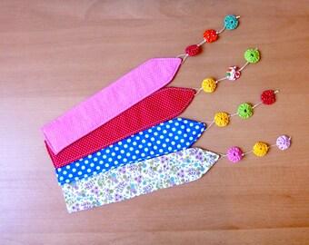 Fabric fuxico bookmarker