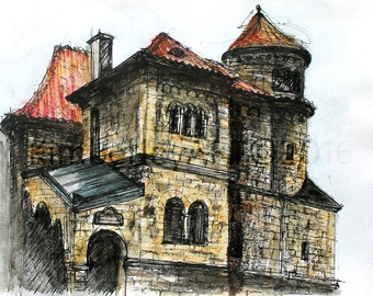 Prague Art Print, Prague Architecture Painting Print, Jewish Museum Art Print, Prague Watercolour Print, Historical Buildings Art Print