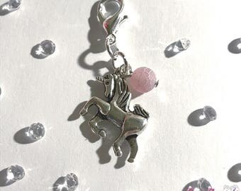 Silver unicorn charm for planner, travelers notebook, bag, keyring or zipper pull clip charm
