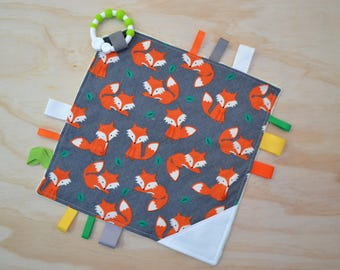 Taggie, Crinkle Sound, Sensory, Activity, Teething, Minky Blanket- Foxes