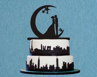 Bride & Groom Kissing on the Moon Wedding Cake Topper With Star,Wedding Cake Topper-Kissing on the Moon Wedding,Romantic Cake Topper