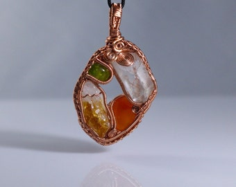Clear Quartz, Carnelian, Citrine, and Peridot Wire Wrapped Pendant