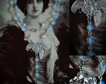 Antique silver art nouveau owl necklace with opalite beads