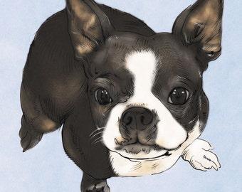 SALE-20% OFF. Custom DIGITAL Pet Portrait. Custom Dog Portrait. Custom Portrait-Printable art. Dog Lover-Dog-Pet-Gift-pet portrait