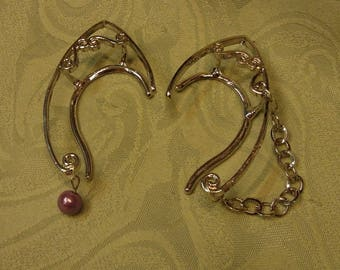 Pair of silvertone elf ear cuffs - bead and chain