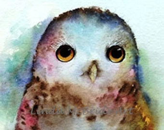 Baby Owl 3x3 gift enclosure card from my original watercolor painting with envelope.