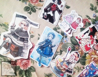 Pack Lolita fashion illustrations stickers (10 pieces)