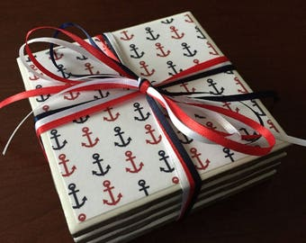 Red, White and Blue Coasters, Anchor Coasters, Nautical Coasters, Set of Four Coasters, Summer Coasters