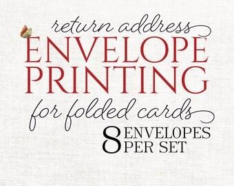 return address envelope printing for  FOLDED note cards - set of 8