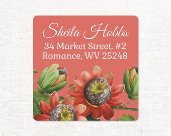 personalized return address label - PASSION FLOWER - square label - address sticker - flower label - set of 48