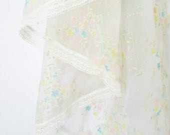 70s Sheer White Wedding Cape With Colorful Pastel Soft Texture Flowers